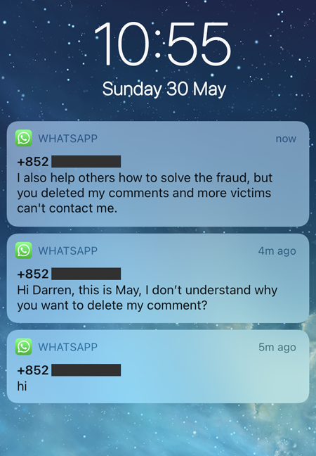 Screenshot of WhatsApp message previews on an iPhone