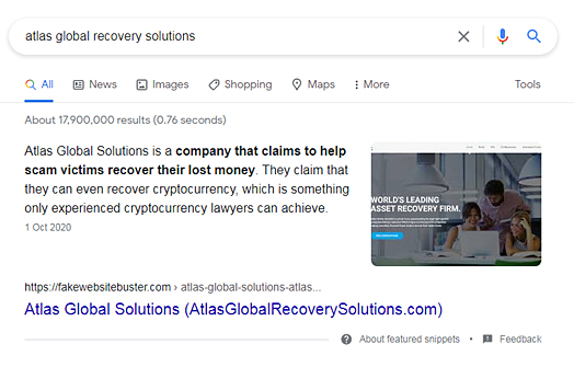 Screenshot of a Google search result about Atlas Global Recovery Solutions